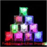 Flash Cubos de hielo LED Flash LED activado por agua Puesto en agua Bebidas Flash Barras Boda Cumpleaños Chris Qylyyz Sports2010