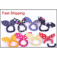 New 100pcs lot Children Women Hair Band Cute Polka Dot Bow Rabbit Ears Headband Girl Ring Scrunchy Kids Pon qylHly toys2010