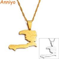 Yutong Anniyo Haiti خريطة الدولة مع اسم الدولة قلادة القلائد المرأة LASS، AYITI الفضة اللون / الذهب لون مجوهرات # 019921