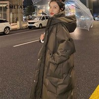 Long Cotton-Padded Jacket Women Fashion Coats Female Hooded Warm Padded Parka Down Winter Cold Protection s 211019
