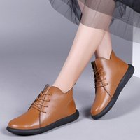 Boots Women's Shoes For Fall Winter Style Round Toe Single Plus Velvet Flat Leather Short Women Casual