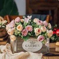 1 부케 10 머리 인공 꽃 장미 꽃 봉오리 꽃 실크 가짜 꽃 플로레스 DIY 홈 정원 결혼식 장식