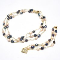 GuaiGuai Jewelry 3 Strands Natural Cultured Freshwater Pink Rice Pearl Black Rice Pearl Gold Plated Necklace Bracelet Sets For Women
