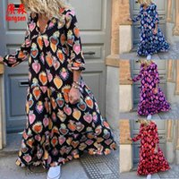 Casual Dresses Fashion Vintage Floral Printed Women Loose A-Line Dress Autumn Long Sleeve Ladies Elegant Sexy V-Neck Party