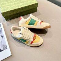 Caminando de lujo diseñador Scranker Sneaker Italia Cuero sucio Verde Red Rojo ACE Corredor Zapatos Classic Screener Screener Sneakers