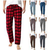 Hommes Accueil Pantalon Coton Flanelle Automne Hiver Chauffe Sleep Bottoms Mâle Plus Taille Taille Plaid Imprimer Pantalon Pajama Pantalon pour hommes