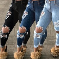 Mujeres Jeans Pantalones rasgados Slim Skinny Hole Denim Moda personalizada Moda Mujeres Pantalones huecos Pantalones largos Lápiz Pantalones Tasseles Agujero Nuevo H2104