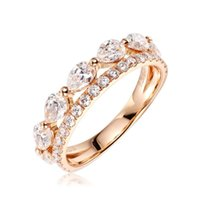 Cluster Rings EDI Luxury 1.5cttw Moissanites Lab Grown Diamond Band Real 14k Yellow Gold Rose Wedding Ring For Women Half Eternal