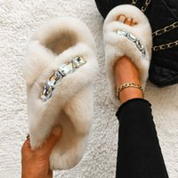 Fluffy Slippers Glitter Crystal Furry Slides Designer Gold Chain Flat Casual Shoes Women's Summer Flip-Flops Comfortable Sandals H0914