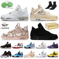 Nike Air Jordan 4 Off White Jordan 4s Retro 농구 신발 2022 적외선 jumpman 4 4S 여자 망 트레이너 화이트 오레오 시어 냅싱 해제 쉬머 블랙 고양이 Travis Scotts Court Purple Sports Sneakers