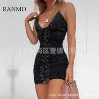 Ranmo 2021 여성 여름 섹시한 회색 Drawstring Sling Sheath Denim Dresses Girls Sexy Club Street 착용 스키니 미니 데님 드레스
