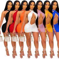 Women mini casual dresses summer clothing sexy club elegant skinny solid color sheath column halter crew neck sleeveless evening party dress bodycon stylish 01448