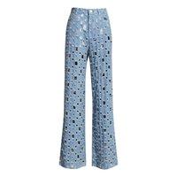 2021 Design de moda feminina cintura alta denim jeans rasgado buracos personalidade perna larga calças longas calças plus sml sml