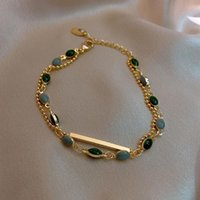 Link, Chain 1PC 18K Gold Plated Natural Stone Bracelet For Women Double Layer Vintage Fashion Wedding Jewelry Wholesale