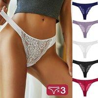 Women's Panties 3PCS Set Sexy Lace Women Low-waist Underwear Thong Female G String Breathable Lingerie Temptation Intimates M-XL