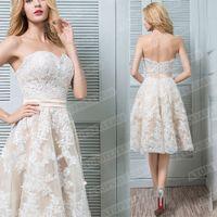 Платье дамы свадьба сексуальный без рукавов бюст невесты белая кружевная юбка мода атмосфера случайные вечеринки обед S-XL