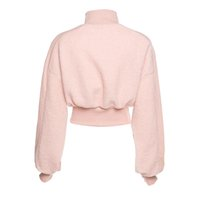 2021 spring and autumn women's Hoodie with new design sense of slim long-sleeved high-neck lamb hair stitching waist