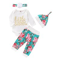 Floral Baby Romper Set Infant Girls Letter Rompers Long Sleeve Tops Kids Cartoon Baby Clothes Toddler Flower Pants Headband Hats 060807