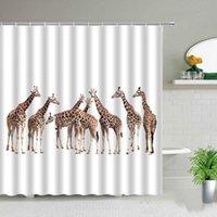Shower Curtains Giraffe Curtain Set Cute Animal Printing Children's Bathroom Personality Bathtub Home Decor Waterproof Fabric