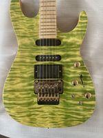 무료 배송 PC1 필 콜렌 QULIT 메이플 탑 녹색 일렉트릭 기타 원래 플로이드 장미 Tremolo 잠금 너트, 활성 픽업, 골드 하드웨어