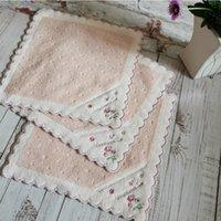 여성 손수건 고품질 부드러운 면화 kerchief 일본 손 디자인 25 * 25cm 포켓 사각형 작은 스카프 빈티지 hankies ahc6497