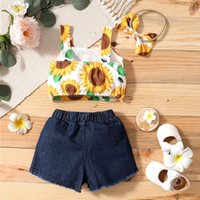 Clothing Sets #VW Summer Casual Toddler Baby Girls Sunflower Print Suspender Tops Vest+Solid Denim Shorts+Bow Headbands Outfits Ropa Niña