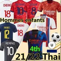 Mailleot de Lyonnais 2021 2022 كرة القدم الفانيلة Lyon 4th Memphis Dembele Toko Ekambi 21/22 OL Digital Bruno G Cherki Aouar Men Kids Kit قميص كرة القدم الرابع