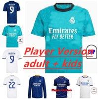 Homens Kids Real Madrid Futebol Jersey Quarto 20 21 22 Hazard Asensio Sergio Ramos Camiseta 2021 2022 Vini JR Mendy Player Camisas de futebol