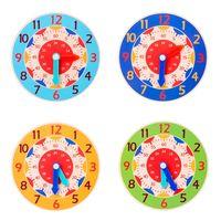 Gráfico de pared Tarjeta de cognición Juguetes para niños Educación temprana Enseñanza Ayudas Montessori Horas de madera Minutos Segundos Cognitive Colorful Relojes