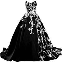 Vestidos de casamento preto e branco gótico vintage 2021 Sweetheart Strapless jardim país nupcial vestidos de casamento varrer mais tamanho de noiva vestido
