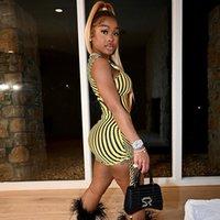 Zebra Şerit Baskı Bir Kollu Bodyocn Elbise Seksi Kulübü Kıyafetleri Kadınlar için Moda Sheer Mesh Mini Elbiseler D96-BF13