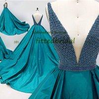 Mermaid Royal Blue Sequined Evening Party Dress 2022 Backless off Shoulder V neck Prom Formal Gown Arabic Dubai Celebrity Wear Robe De Soiree Vestidos Noche