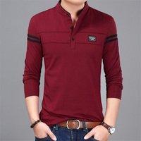 Men's T-Shirts 2021 Men T Shirt Man Long Sleeve T-shirt Clothing Tangerine Neck Shirts Tops And