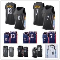 Erkekler Kevin 7 Durant Brooklyns 13 Sertlen Jersey Kyrie 11 Basketbol Irving Jersey Siyah 2021 Şehir Mavi Üniforma Yeni Sezon Jesreys
