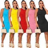 Straps Women Dresses Designer Shirring Mini Dress Sleeveless Summer Clothing Bodycon Sundress Casual Party Outfits Logo Print Black Miniskirt Sexy Skirts 5470