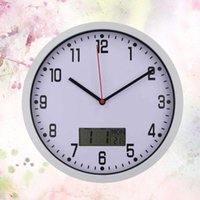 Wall Clocks 1PC 10 Inches Hanging Clock Simple Sitting Room LCD Display Temperature Humidity Meter Wa