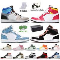 Nike Air Jordan 1 Off White Travis Scott Retro 1 1s avec la boîte à mi gris clair Jumpman 1 1s Basketball Chaussures sans Peur Digital-Rose haute OG Bio Hack Femmes Hommes