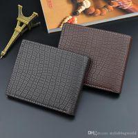 Hommes Court Portefeuille Pochette Pochette Designer Version coréenne de Multi Card Slot Pliing Crocodile Motif Soft Mode Niveau Young 018