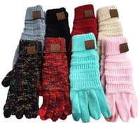 Christmas Gifts CC Knitting Touch Screen Glove Capacitive Women Winter Warm Wool Gloves Antiskid Knitted Telefingers Outdoor