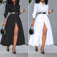 Lose Langarm Hemd Kleid Vonda Mode Womens Vintage Solide Farbe Kleider Ol Office Sexy Split Party Lange Vestidos T200914