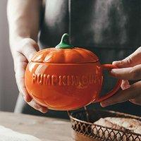 Mugs Cartoon Halloween Creative Ceramic Pumpkin Cup With Lid Breakfast Coffee Dessert Soup Oatmeal Home Mug Kitchen Accessories