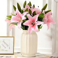 Decorative Flowers & Wreaths Artificial High Quality Fake Lily Bouquet Vases For Home Decoration Accessories Wedding Table Setting