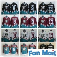 Vintage Anaheim Poderoso Ducks Jerseys 8 Teemu Selanne 9 Paul Kariya 35 Jean-Sebastien Giguere 13 Selanne 1998 CCM Costurado Hóquei Jersey