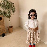 새로운 아이들의 꽃이 인쇄 된 스커트 소녀 꽃잎 꽃 주름 치마 아이 코튼 공주 치마 농촌 스타일 여자 꽃 치마 A6043