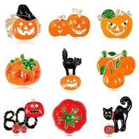 Pins, Brooches Halloween Pin Boo Pumpkin Kitten Rhineston Red Wine Bottle Brooch Enamel Backpack Cloth Fun Lapel Badge Jewelry Gift