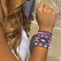 Zhongvi Miyuki pulseira para as mulheres 2021 pulseiras de moda conjunto roxo strass pulsera artesanais tecidos amigos borla jóias