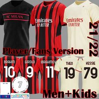 22 22 Giroud Ibrahimovic Soccer Jerseys Versão do jogador AC Milan 2021 2022 Brahim Camisa de futebol Equipamento para crianças Rebic Camiseta de Futbol Romagnoli Kits