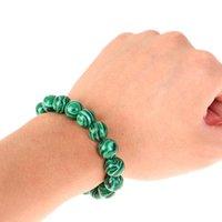 Charm Bracelets 6 8 10 12 14mm Green Malachite Stone Beads & Bangle For Women Men Crystal Bracelet Buddhist Jewelry