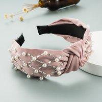 봄 시뮬레이션 된 진주 꼬리표 머리띠 빈티지 반짝이 라인스턴 트위스트 헤어 밴드 소녀 와이드 베젤 머리 액세서리 2488 Y2