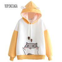 Yupinciaga bordado bateu color cor mulheres hamster encapuçado mobiloso pulôvers com chifres harajuku com capuz meninas meninas adolescentes hoodies 200930